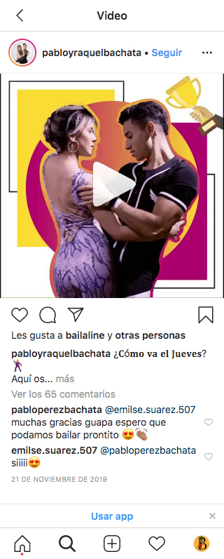Gestion de redes sociales @pabloyraquelbachata