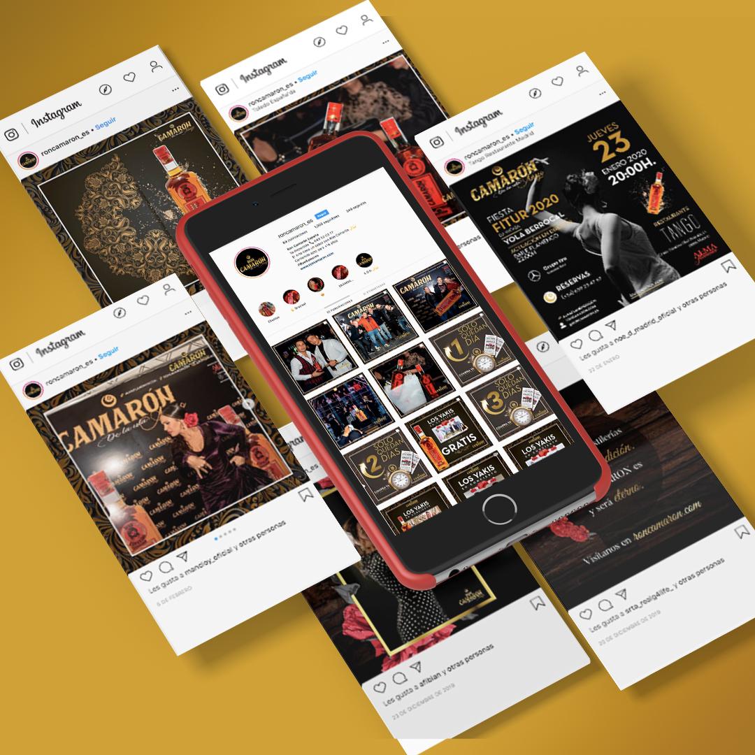 Diseño de redes sociales para Ron Camarón