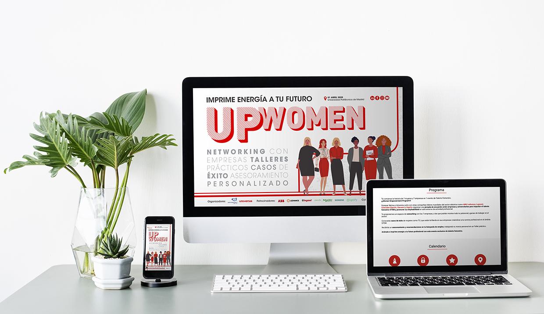Diseño de landing page del evento UpWomen de Universia